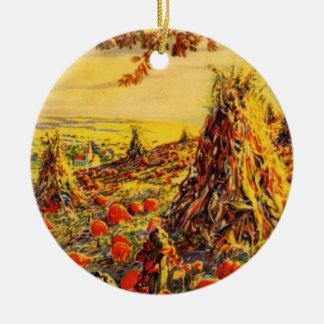 Vintage Halloween Pumpkin Patch with Haystacks Round Ceramic Decoration
