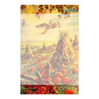 Vintage Halloween Pumpkin Patch with Haystacks Stationery