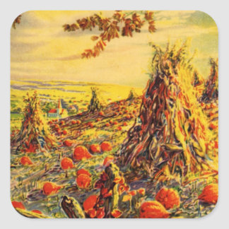 Vintage Halloween Pumpkin Patch with Haystacks Square Stickers