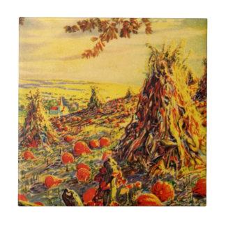 Vintage Halloween Pumpkin Patch with Haystacks Tile