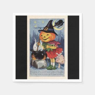 Vintage Halloween Pumpkin Witch Paper Napkin