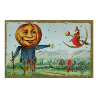 Vintage Halloween pumpkin witch party decor poster
