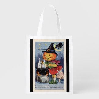 Vintage Halloween Pumpkin Witch Reusable Grocery Bag