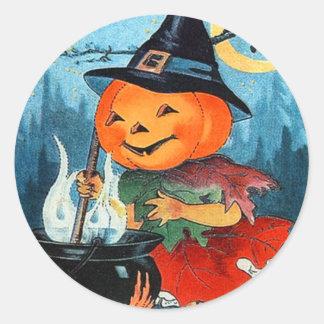Vintage Halloween Pumpkin Witch Round Sticker