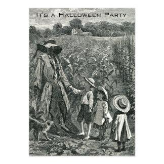 Vintage Halloween Scarecrow and Children 13 Cm X 18 Cm Invitation Card