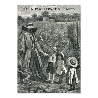 "Vintage Halloween Scarecrow and Children 5"" X 7"" Invitation Card"