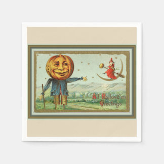 Vintage Halloween Scarecrow and Witch Disposable Serviette