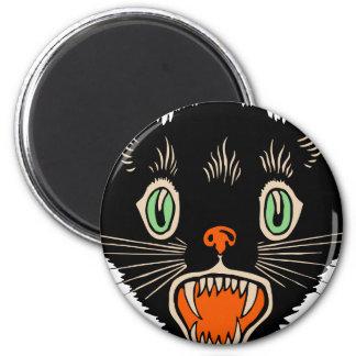 Vintage Halloween Scared Black Cat 6 Cm Round Magnet