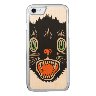 Vintage Halloween Scared Black Cat Carved iPhone 7 Case