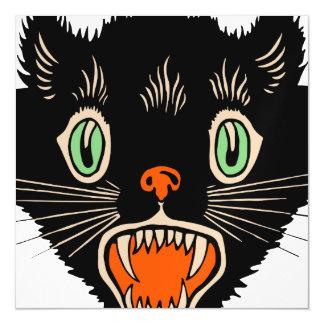 Vintage Halloween Scared Black Cat Magnetic Invitations