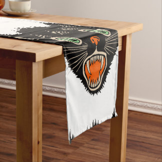 Vintage Halloween Scared Black Cat Short Table Runner