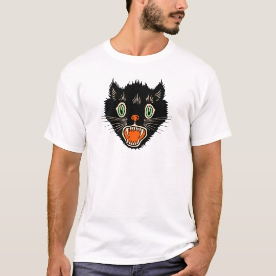 Vintage Halloween Scared Black Cat T-Shirt