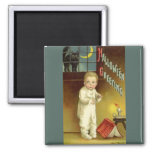 Vintage Halloween, Scared Boy with Black Cat 2 Inch Square Magnet