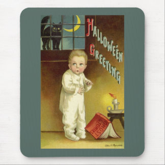 Vintage Halloween, Scared Boy with Black Cat Mouse Pad
