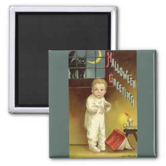 Vintage Halloween, Scared Boy with Black Cat Square Magnet