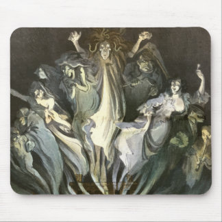 Vintage Halloween, Scary Ghosts and Skeleton Music Mouse Pad