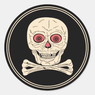 Vintage Halloween Skull & Crossbones Round Sticker