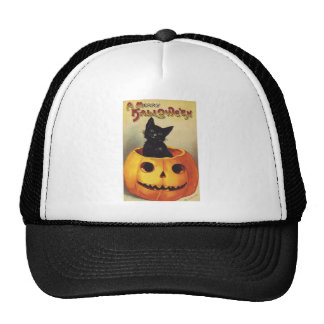 Vintage Halloween Smiling Cute Black Cat Pumpkin Trucker Hat