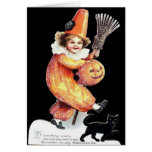Vintage Halloween Sparkling Costume Party Greeting Card