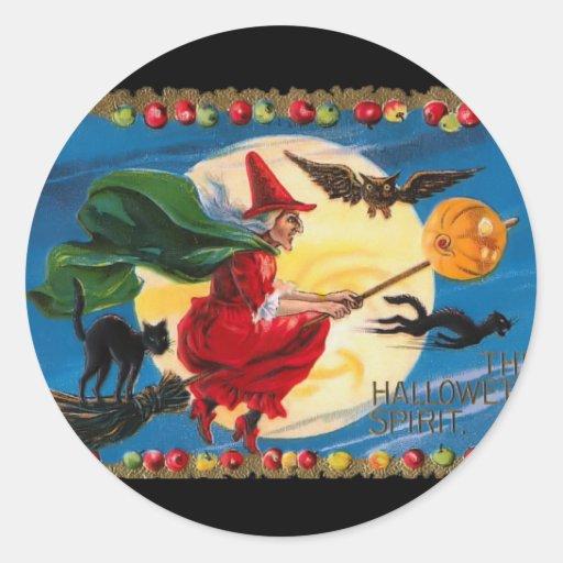 Vintage Halloween Spirit Witch Sticker