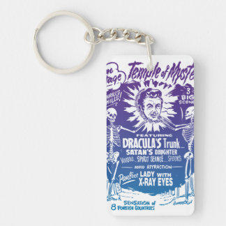Vintage Halloween Spook Show Temple of Mystery Double-Sided Rectangular Acrylic Key Ring
