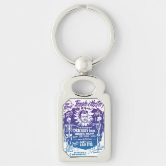 Vintage Halloween Spook Show Temple of Mystery Silver-Colored Rectangle Key Ring