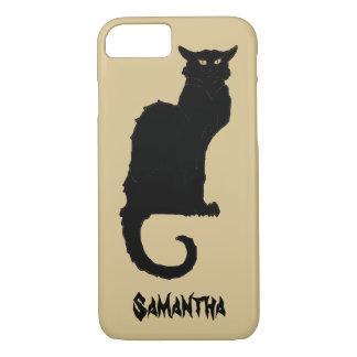 Vintage Halloween, Spooky Art Nouveau Black Cat iPhone 7 Case