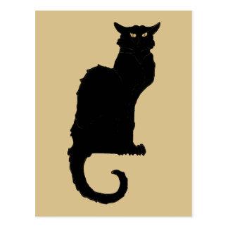 Vintage Halloween, Spooky Art Nouveau Black Cat Postcard
