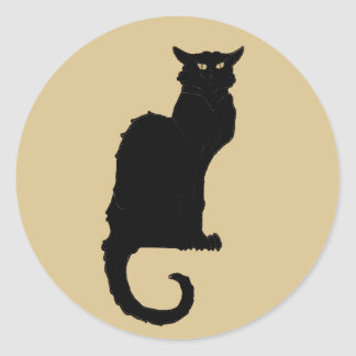 Vintage Halloween, Spooky Art Nouveau Black Cat Round Sticker