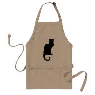 Vintage Halloween, Spooky Art Nouveau Black Cat Standard Apron
