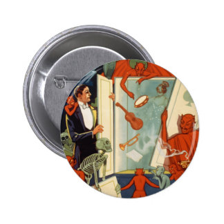 Vintage Halloween, Spooky Magic Act with Magician 6 Cm Round Badge
