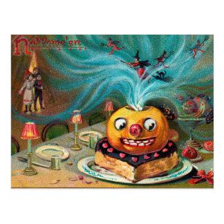 Vintage Halloween spooky pumpkin postcard