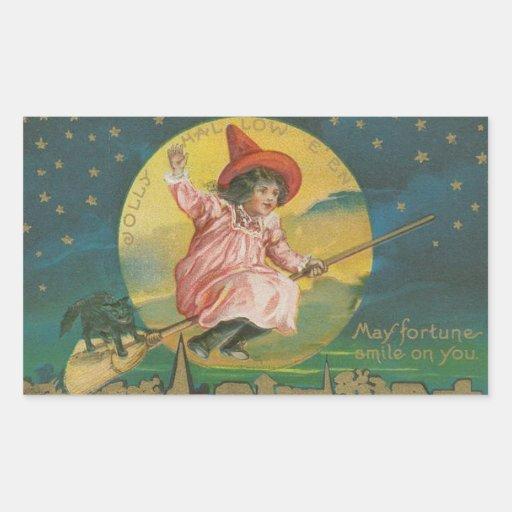 Vintage Halloween Sticker | Kid Witch