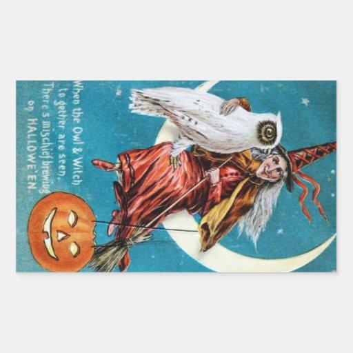 Vintage Halloween Sticker Witch