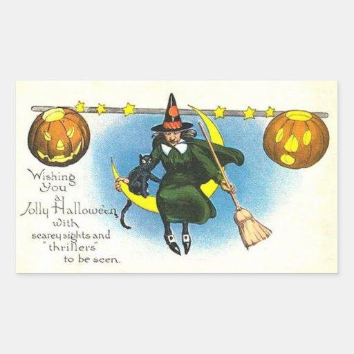 Vintage Halloween Sticker with WITCH