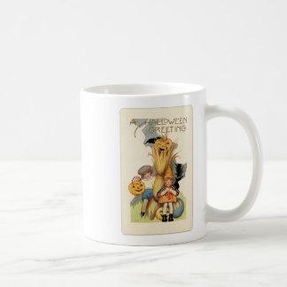 Vintage Halloween Trick or Treaters Basic White Mug