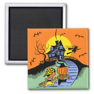 Vintage Halloween - Trick or Treaters Square Magnet