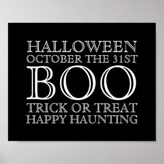 Vintage Halloween Typography Poster Sign - B&W