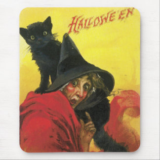 Vintage Halloween Witch and Cat Mouse Pad