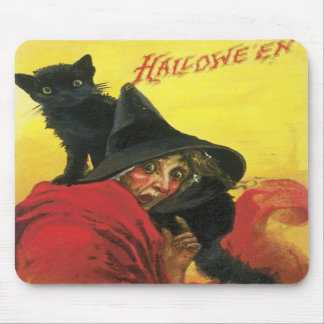 Vintage Halloween Witch and Cat Mouse Pads