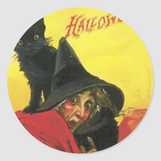 Vintage Halloween Witch and Cat Round Stickers