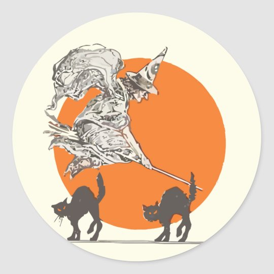 Vintage Halloween Witch and Cats Stickers