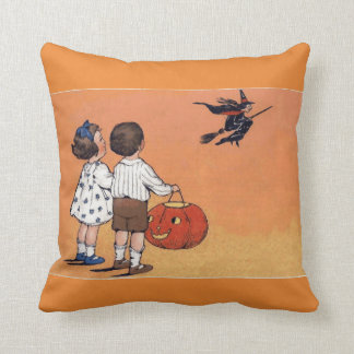 Vintage Halloween Witch and Children Throw Pillow