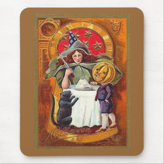 Vintage Halloween Witch and Pumpkin Head Boy Mouse Pad