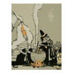 Vintage Halloween Witch, Cauldron Magic Black Cats Posters