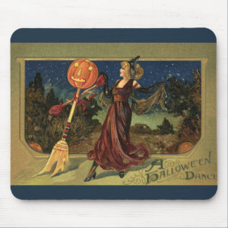 Vintage Halloween Witch Dancing with a Broom Mouse Pads