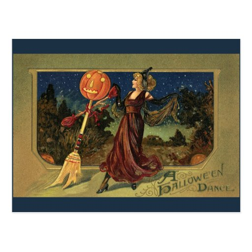 Vintage Halloween Witch Dancing with a Broom Post Card