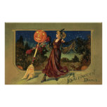 Vintage Halloween Witch Dancing with a Broom Print
