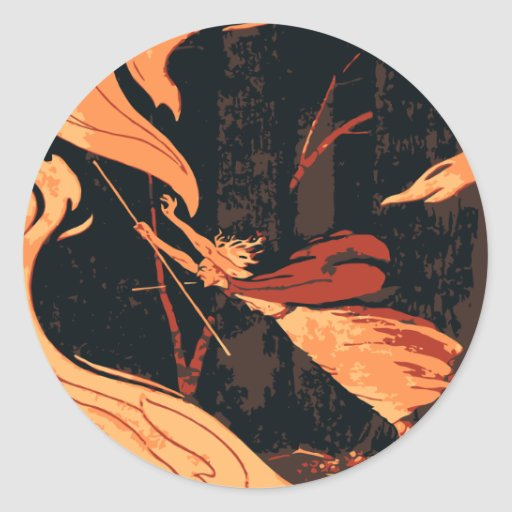 Vintage Halloween Witch, Fire and Flames in Forest Round Stickers