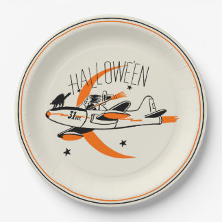 Vintage Halloween Witch Flying A Plane Paper Plate